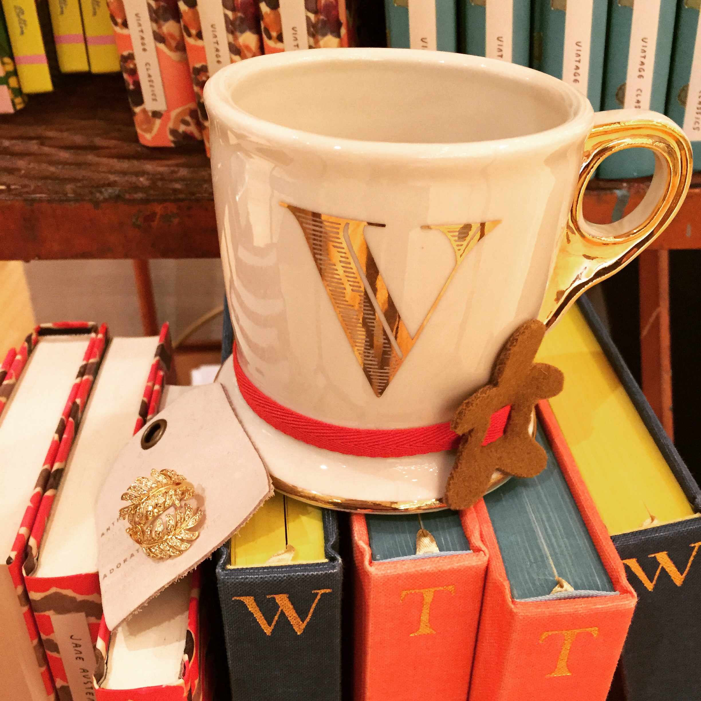 Anthropologie Gold Initial Mug
