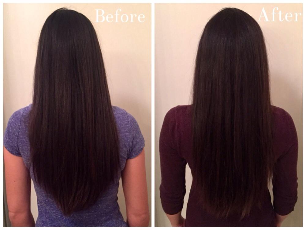 John Frieda Brilliant Brunette Visibly Brighter - Before & After