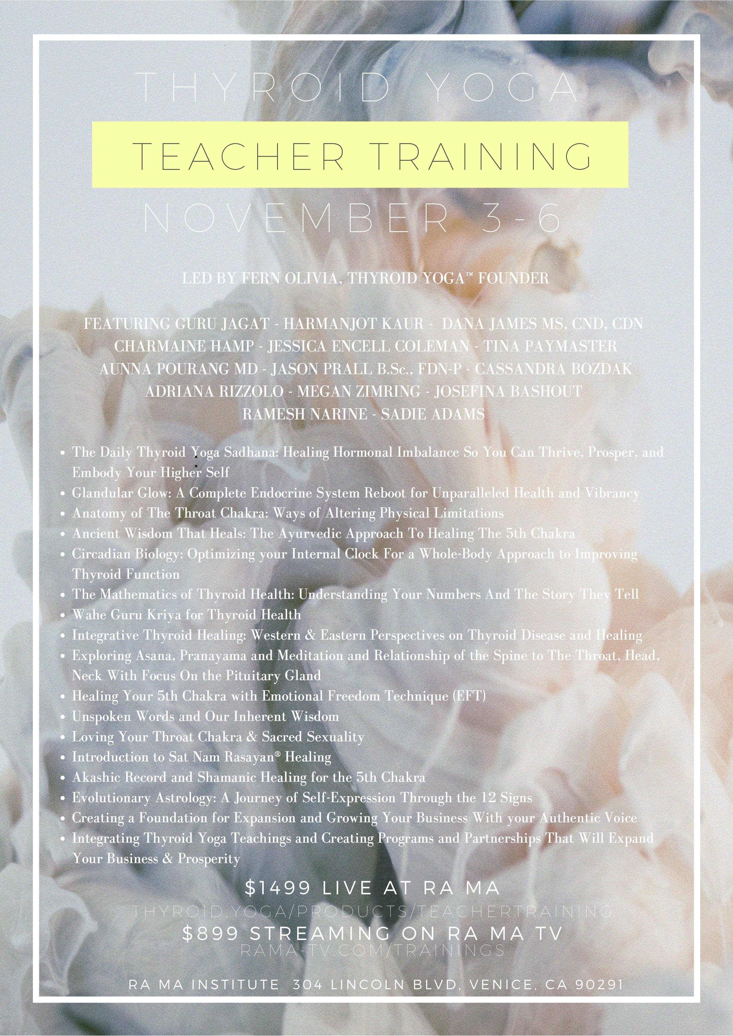 Thyroid Yoga Teacher Training with Fern Olivia